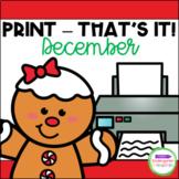December Print - That's It! Kindergarten Math and Literacy Printables
