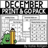 December Print and Teach No-Prep Activities