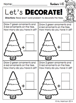 December Printables - First Grade Literacy and Math