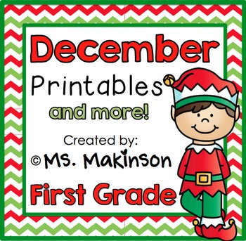 December Printables - First Grade Literacy and Math