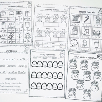 December Printables- Math and Literacy On The Go