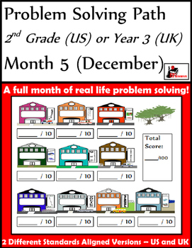 December Problem Solving Path: Real Life Word Problems for 2nd Grade / Year 3