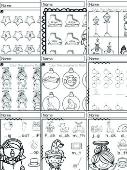 Christmas and December Quick Prints {Math & Language Arts Activity Sheets}