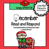 December Read and Respond:  Emergent Readers and Comprehension Response Pages