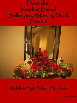 December Reading Based Bellringers for Middle & High School Students Freebie