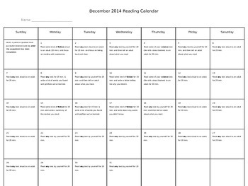 December Reading Calendar with Specific Assignments