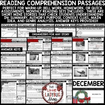 December Christmas Reading Comprehension Passages 4th Grade, 3rd Grade