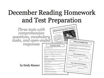December Reading Homework and Test Preparation