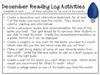 December Reading Log Packet for Intermediate Students