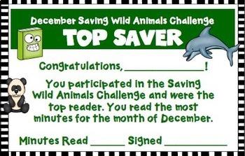 December Reading Log Saving Wild Animals Theme