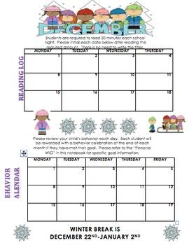 December Reading Log and Behavior Calendar