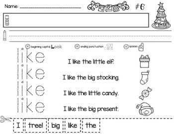 December Reading Print & Practice: Kindergarten