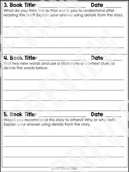 December Reading Response Logs (Grade 3)