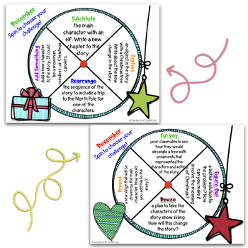 December Reading Spinner Choice Boards