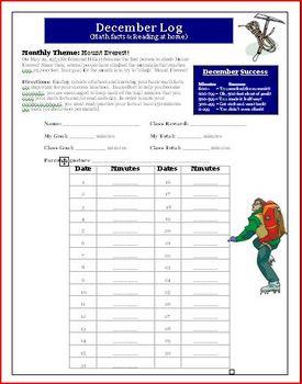 December Reading and Math Log Activity