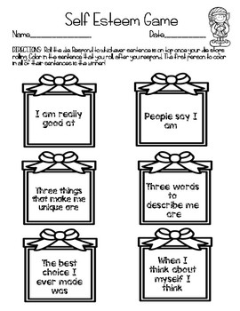 December Roll and Respond Self Esteem Counseling Game