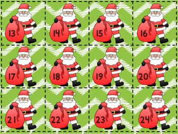 December Santa Themed Calendar Numbers