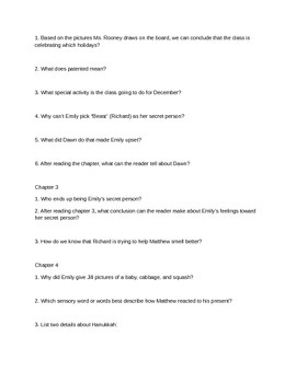 December Secrets Study Questions and Vocabulary Activities