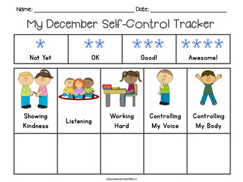 December Self-Control Behavior Tracker Rubric for Student Reflection