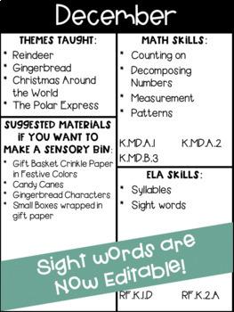 December Sensory Bin Math & Literacy Activities