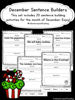 December Sentence Builders {morning work, word work, daily 5, & centers}