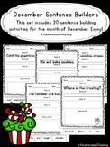 December Sentence Builders {morning work, word work, daily