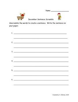 December Sentence Scramble