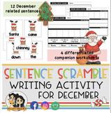 December Sentence Scramble - Sentence Writing Activity & Practice