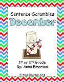 December Sentence Scrambles: Kindergarten, First, and Second Grade