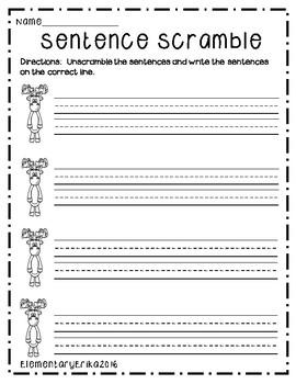 December Sentence Unscramble Center K-2