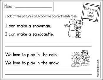 December Sentence Writing
