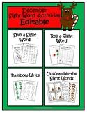 December Sight Word Activities- EDITABLE- Literacy Centers
