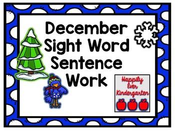 December Sight Word Sentence Work