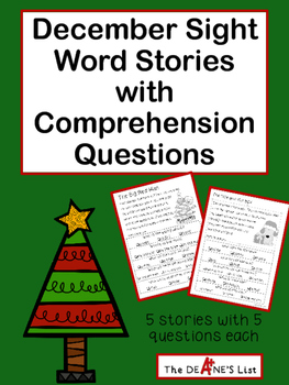 December Sight Word Stories with Comprehension Questions ...