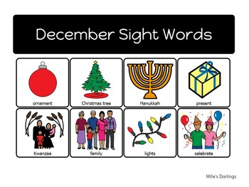 December Sight Words - Boardmaker Symbols