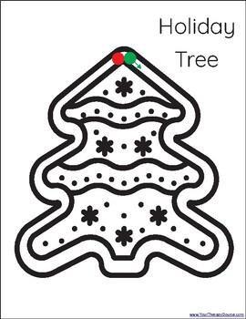 December Simple Shape Drawings - Pre-writing practice, Preschool