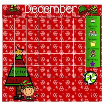 December Smartboard Calendar Template