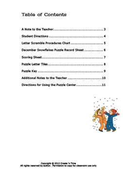 December Snowflakes: A Letter Scramble Puzzle Packet and Center
