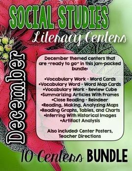 December Social Studies Literacy Centers BUNDLE