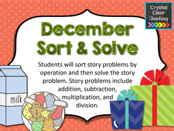 December Sort and Solve Story Problems