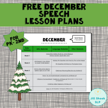 FREE December Speech Lesson Plans PK-2nd