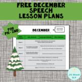 FREE December Speech Lesson Plans PK-2nd