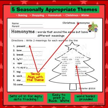 December Speech Therapy Upper Elementary Vocab & Grammar Worksheets