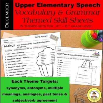 December Speech Therapy Upper Elementary Vocab & Grammar W