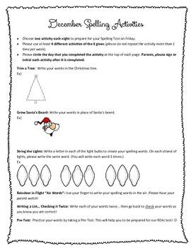 December Spelling Activities