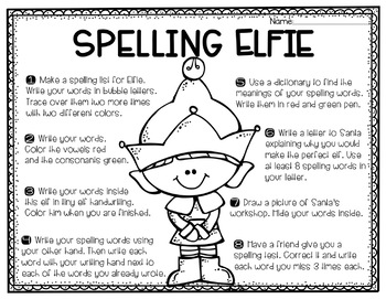 December Spelling Choice Activities