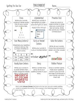 December Spelling Choice Tic-Tac-Toe