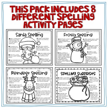 December Spelling Choice Activties and Writing Organizers and Prompts Bundle