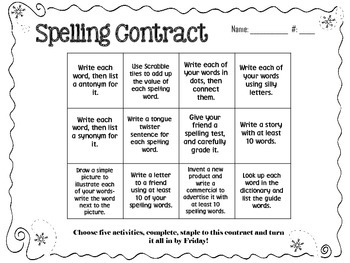 January Spelling Contracts-5 Weeks