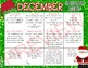December Spelling Homework Choices